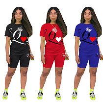 Casual Solid-color Poker Q-printed Short-sleeved Two-piece Set DM-8134