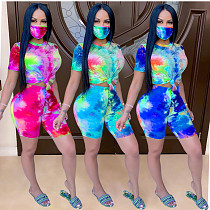 Fashion Tie-Dye Printed Home Wear Two-piece Set With Mask GS-1857