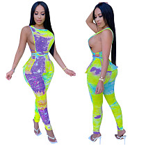 New Print Hollowed-out Top Pleated Trousers Two-piece Set YIS-511
