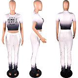 Monochrome Gradient Print T-shirt Casual Pants Two-piece Set HZM-7030