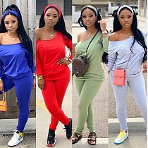 Solid Color Long Sleeve Casual Two-piece Set Without Headscarf HZM-7049
