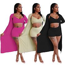 Cut Short Halter Vest Tight Shorts+Long Coat Three-piece Set YIM-8130