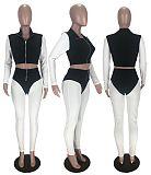 Fashion Stitching Contrast Color Pit Strip Long Two-piece Set MX-1133