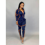 Autumn Characteristic Splice Long Sleeve Trousers Two-piece Set SFY-145