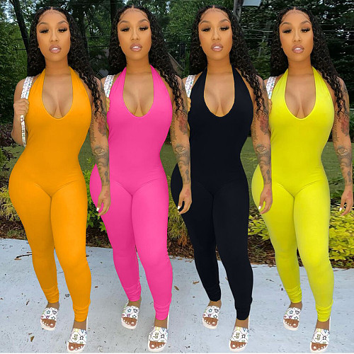 Solid Color Backless Sexy Tight Hang Neck Jumpsuit ARM-8208