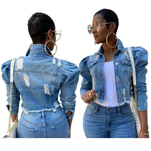 Fashionable Slim Bubble Sleeves Short Jean Jacket SMR-9639