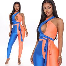 Two-color Splice Sleeveless Hang Neck Jumpsuit With Belt YJ-8343