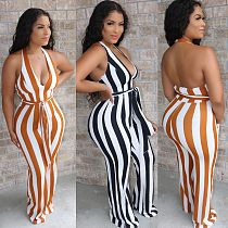Fashion Hang Neck Backless Striped Flared Jumpsuit With Belt BS-1205