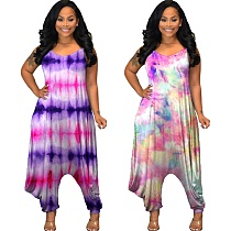 Hot Style Tie-dye Loose-fitting Sleeveless Halter Jumpsuit MUL-106