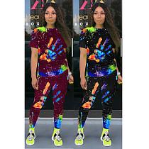 Women's Graffiti Print Short Sleeve Trousers Two-piece Set CN-0045