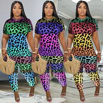 Leopard-Print Tie-Dye Short-Sleeved Jumpsuit MLS-8072