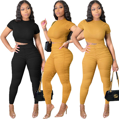 Fashion Elements Wrinkle Short Sleeve Two-piece Set OMY-8062