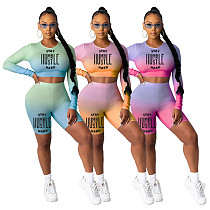 Letter Print Gradient High Stretch Long Sleeve Shorts Two-piece Set IV-8116