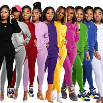 Cotton Solid Color Long Sleeve Pants Sport Two-piece Set SFY-155