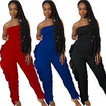 Solid Color Sleeveless Mid-waist Flounce Jumpsuit YIY-5200