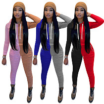 Matching Color Long Sleeve Hooded Sweatpants Two-piece Set TE-4079