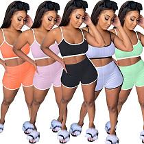 Solid-color Pit Strip Fabric Halter Top Shorts Sport Suit MIL-142