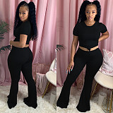 Casual Monochrome T-shirt Bell-bottom Two-piece Set YH-5168