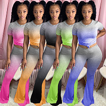 Sexy Gradient T-shirt Bell-bottom Pants Two-piece Set KSN-8015