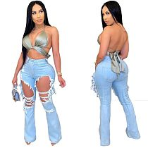 Hot Sales Ripped Washed Flared Jeans ORY-5165