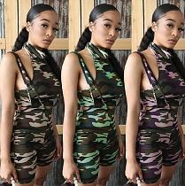Sexy Camo Print Slim Tank Top Condole Belt Shorts Two-piece Set MEI-9100
