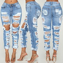 Personality Torn Middle Waist Jeans Pencil Trousers HSF-2061