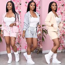 Casual Sport Hooded Jacket Lace-up Shorts Two-piece Set MTY-6999