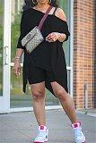 Fashion Slant-shoulder Irregular Slim Shorts Two-piece Set NY-2012