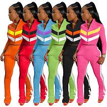 Women's Matching Color Zipper Jacket Trousers 2 Pieces SHUN-8039