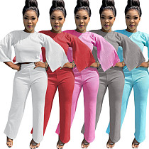 Solid-color Flared Sleeve Straight Pants Two-piece Set CN-0047
