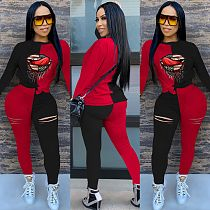 Lip Printed Long Sleeve T-shirt Trousers Contrast Color Two-piece Set YFS-3540