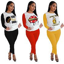 Fashion Print Round Neck Long Sleeve Trousers Two-piece Set YUM-9036