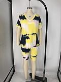 Fashion Plus-Size Tie-Dye Short Sleeve Shorts Two-piece Set XMY-9250