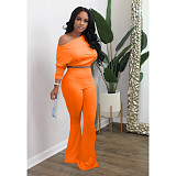 Casual Bat Long Sleeve Blouse Bell Bottom Trousers Two-piece Set MIL-154