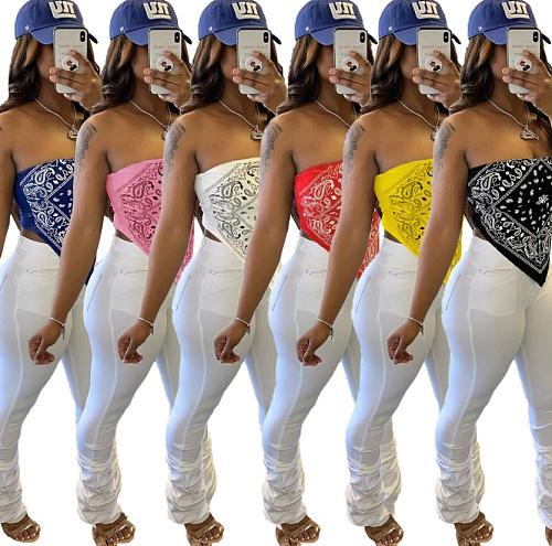 Sexy Print Breast Waist Revealing Matte Bandana Top FNN-8383