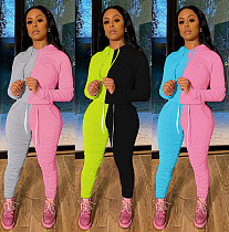 Casual Two-color Splicing Hoodie Draped Trousers Two-piece Set MA-364