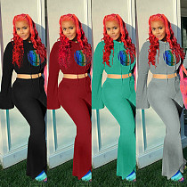 Fall Smiley Face Print Long Sleeve Bell-bottom Pants Two-piece Set OY-6210