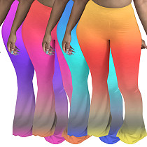 Colorful Gradients Mid-waist Floor Length Bell-bottoms PN-6590