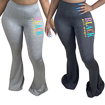 Hot Style Printed Tight Mid-waist Cotton Flared Trousers LSD-8783