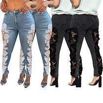 Women's Lace Patchwork Washed Denim Pencil Trousers ME-662