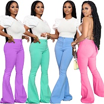 Solid Color Mid-waisted Slimming Denim Bell-bottom Trousers QY-5202
