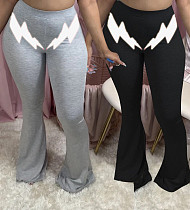 Casual Lightning Print Tight Buttock Lift Flared Trousers RSN-772