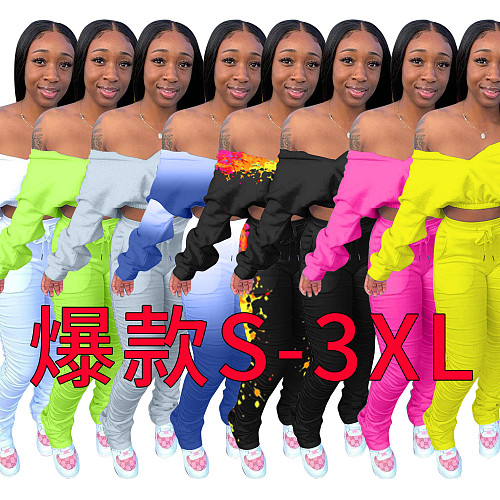 Solid Color Long-sleeved Elasticized Top Pleated Trousers Suit LSD-8768