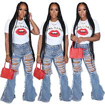 Women's Versatile Slim Ripped Denim Bell-bottom Trousers HSF-2312