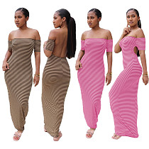 Sexy Striped Print Off Shoulder Hollow Back Maxi Dress YUM-9035