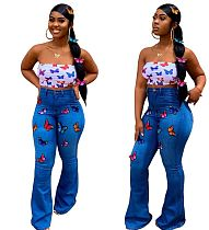 Women Butterfly Embroidery High Stretch Flared Jeans LA-3131