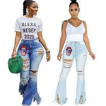Embroidered Jeans For Women Elastic Lips Tassel Flare Jeans HSF-2280