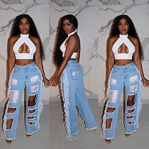 Women Ripped High-waisted Wide-leg Jeans LX-6027