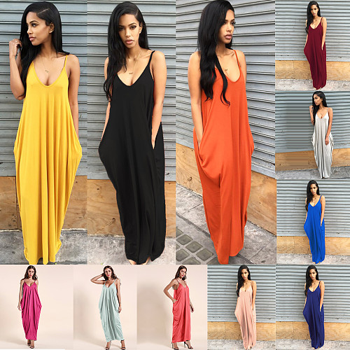 Women Plus Size Deep V Adjustable Sling Loose Maxi Dress RS-2039