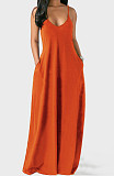 Women Plus Size Deep V Adjustable Sling Loose Maxi Dress RS-2039